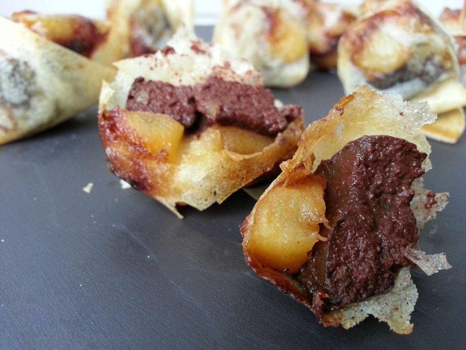Bouchées croustillantes boudin noir/pommes ou aumonières de boudin noir aux pommes