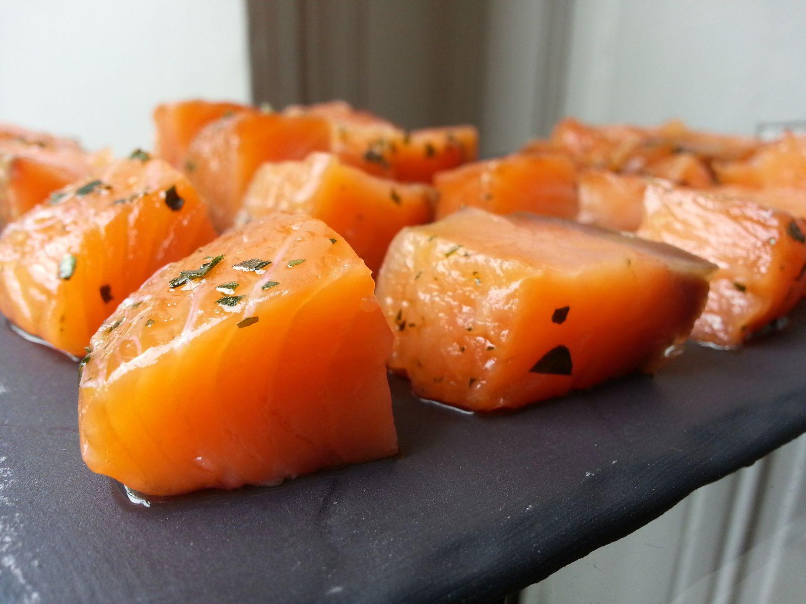 Saumon mariné au basilic - très facile