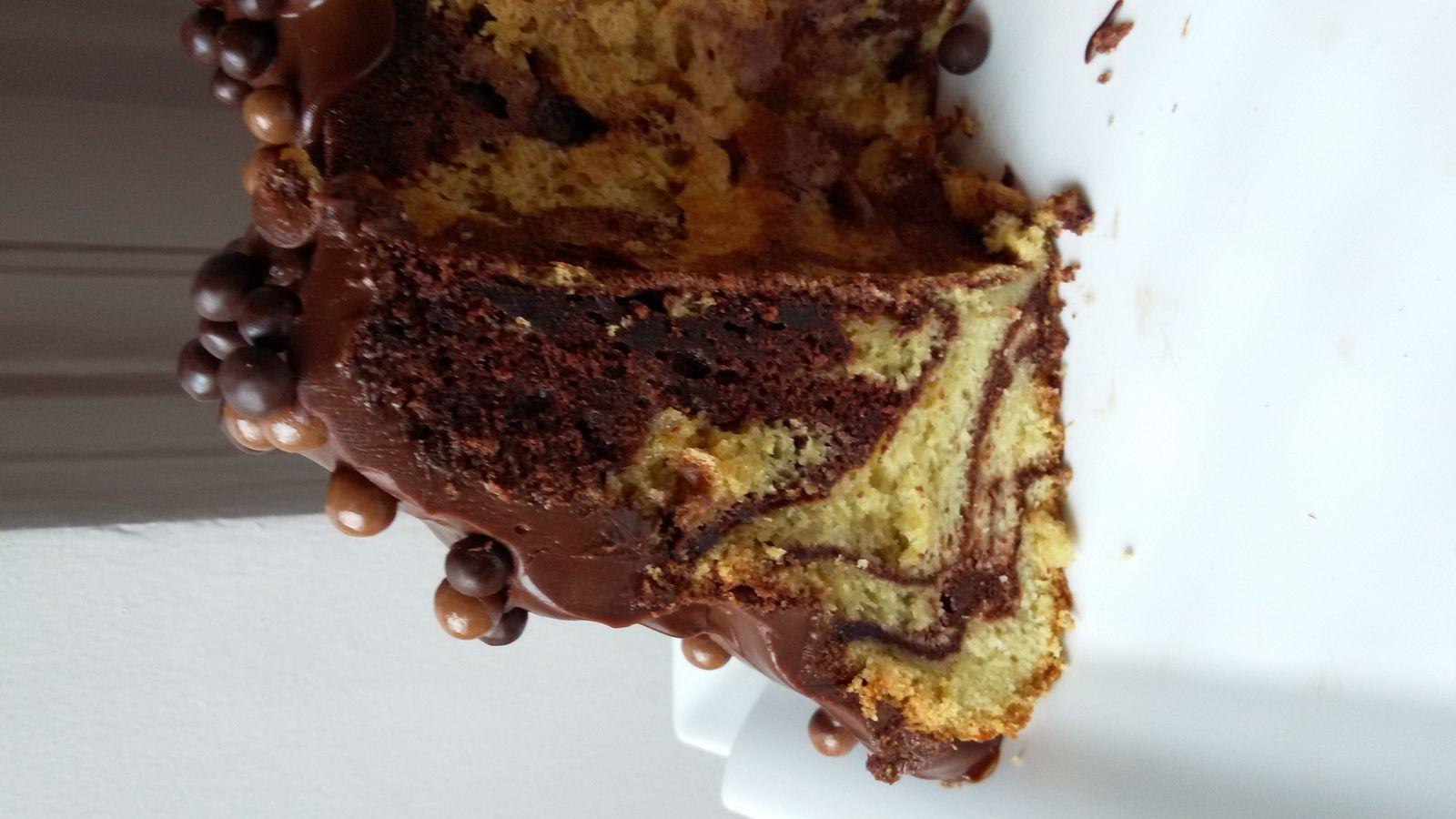 Chiffon cake marbré