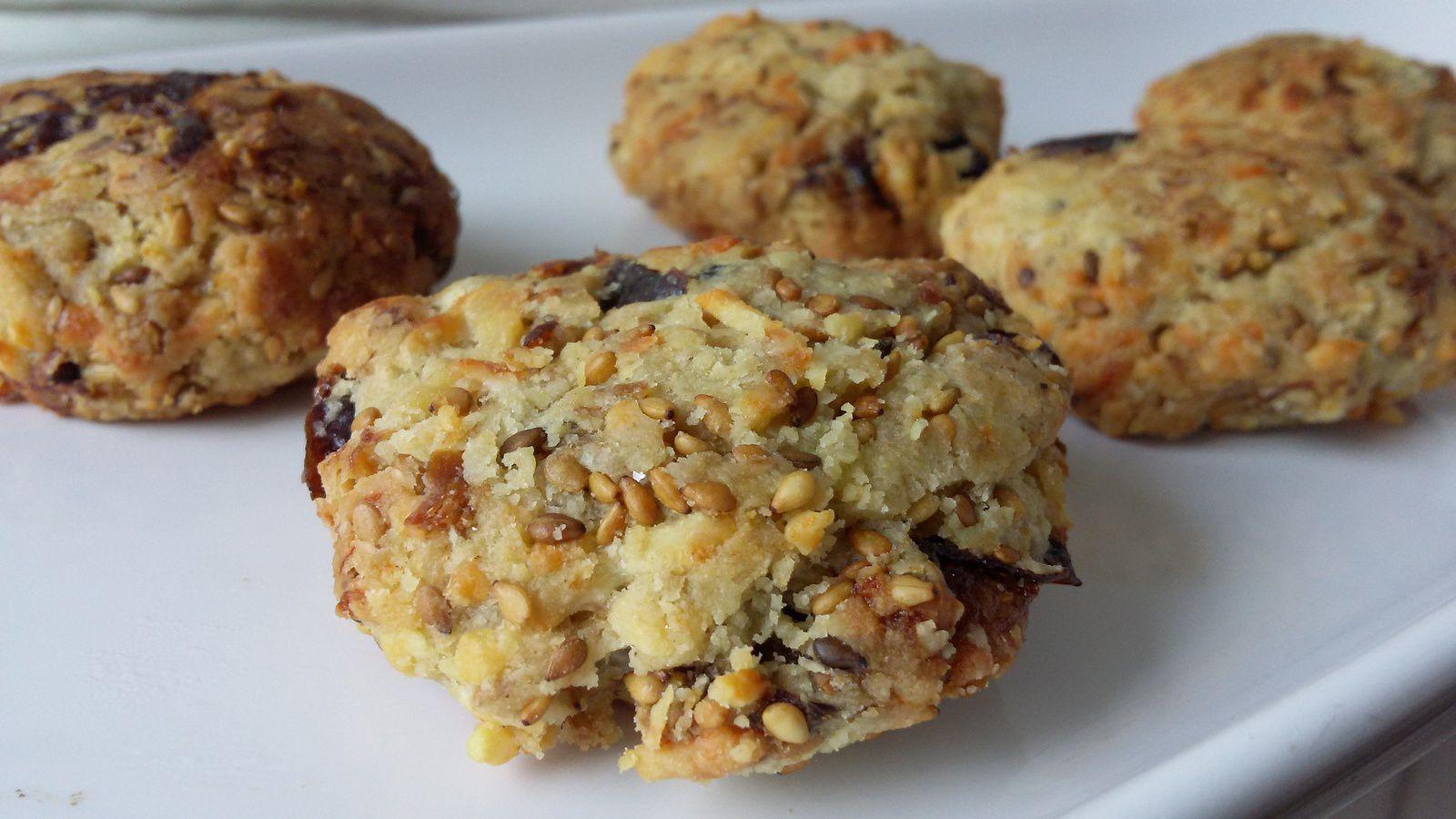 Cookies apéro foie gras pruneaux sésame