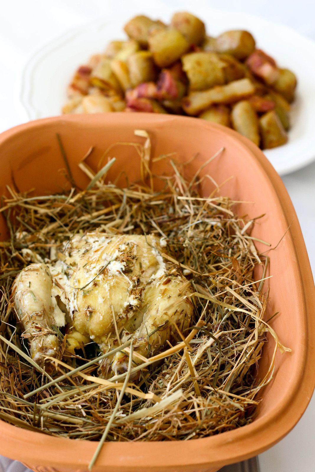 Coquelets cuits au foin & Pommes de terre sautées au lard de poitrine et aux navets