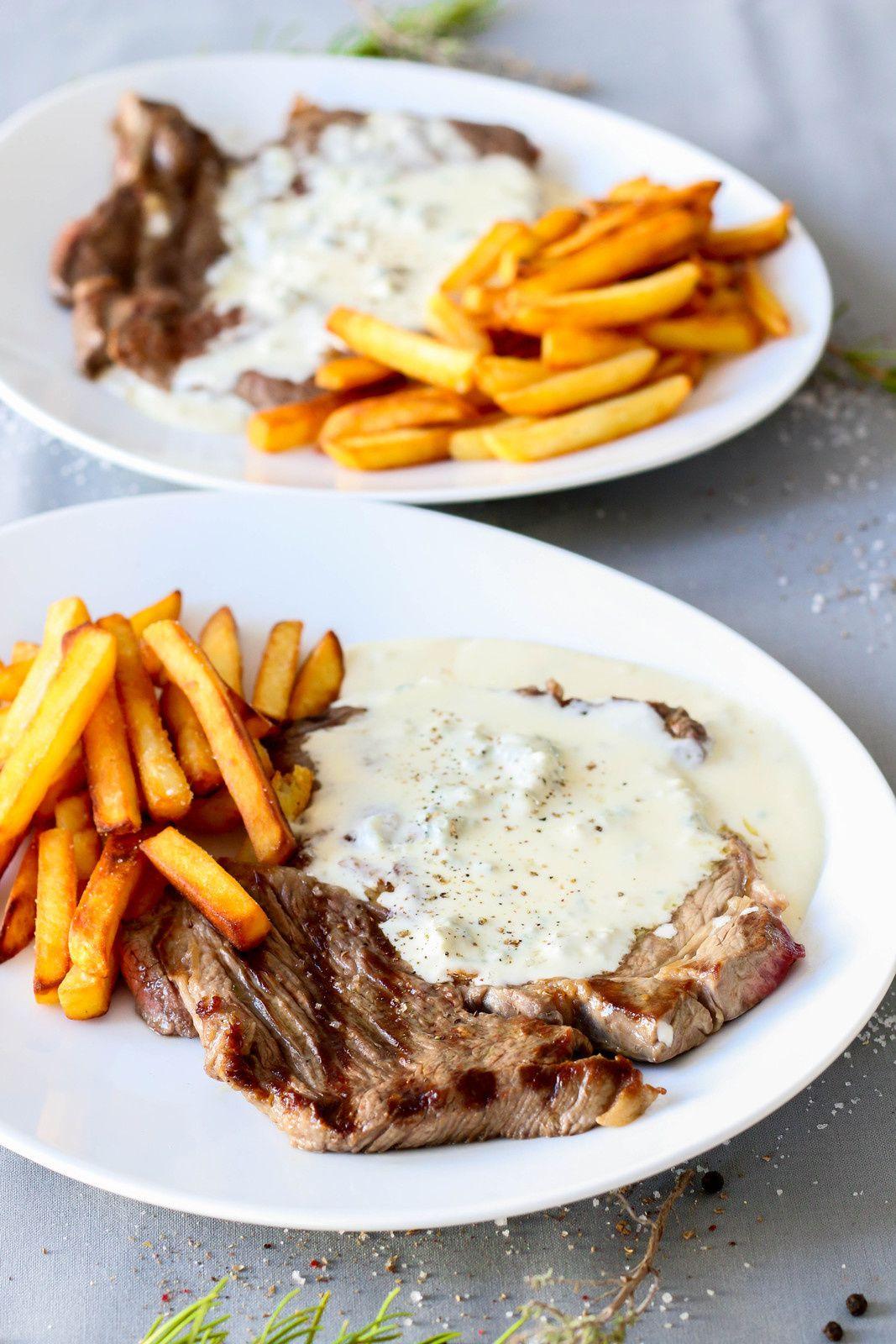 Basse côte grillée, sauce au gorgonzola