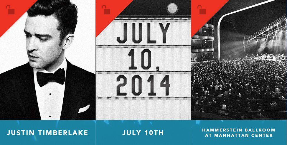 Justin Timberlake en concert à New York le 10 juillet prochain!