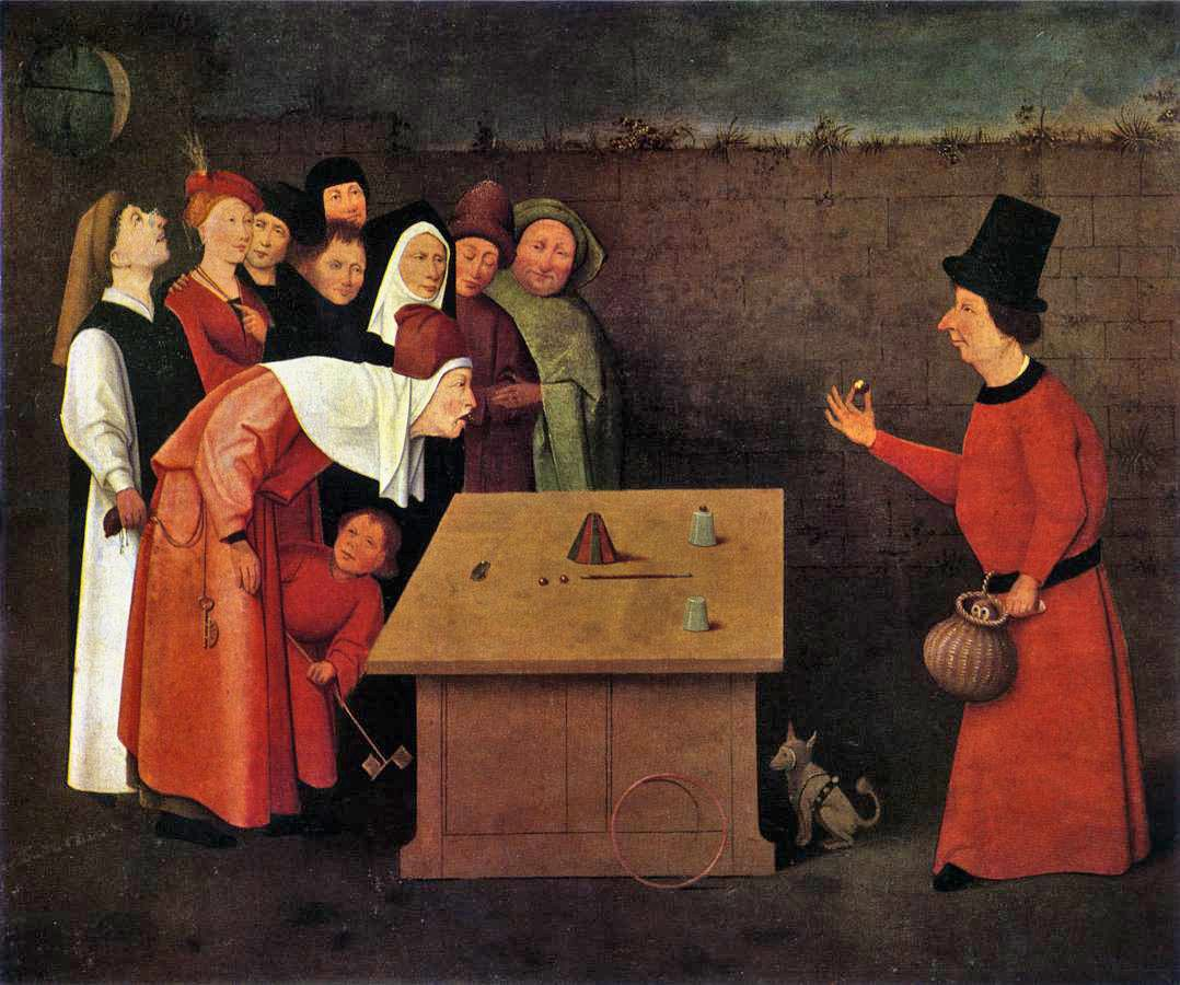 L'escamoteur, peinture attribuée à jérôme BOSCH