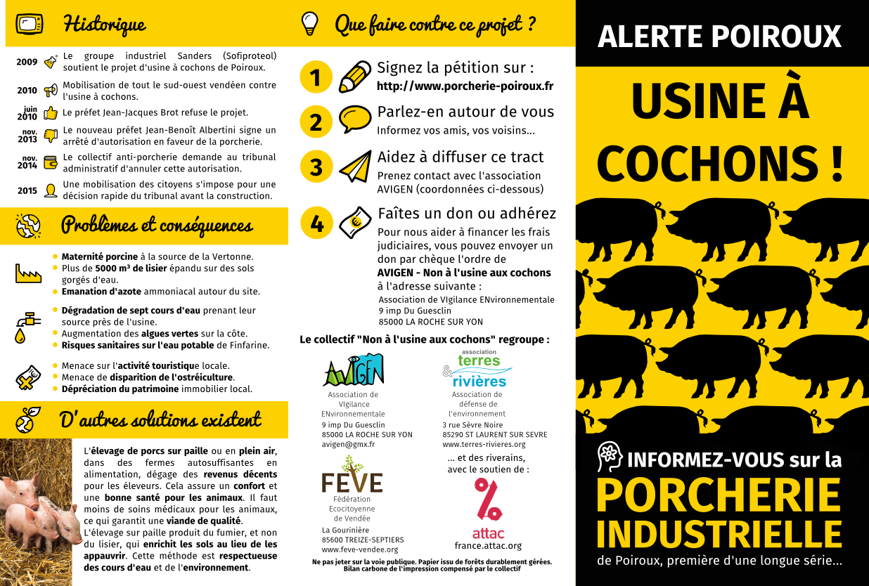 ALERTE POLLUTION : NON A LA PORCHERIE INDUSTRIELLE DE POIROUX EN VENDEE