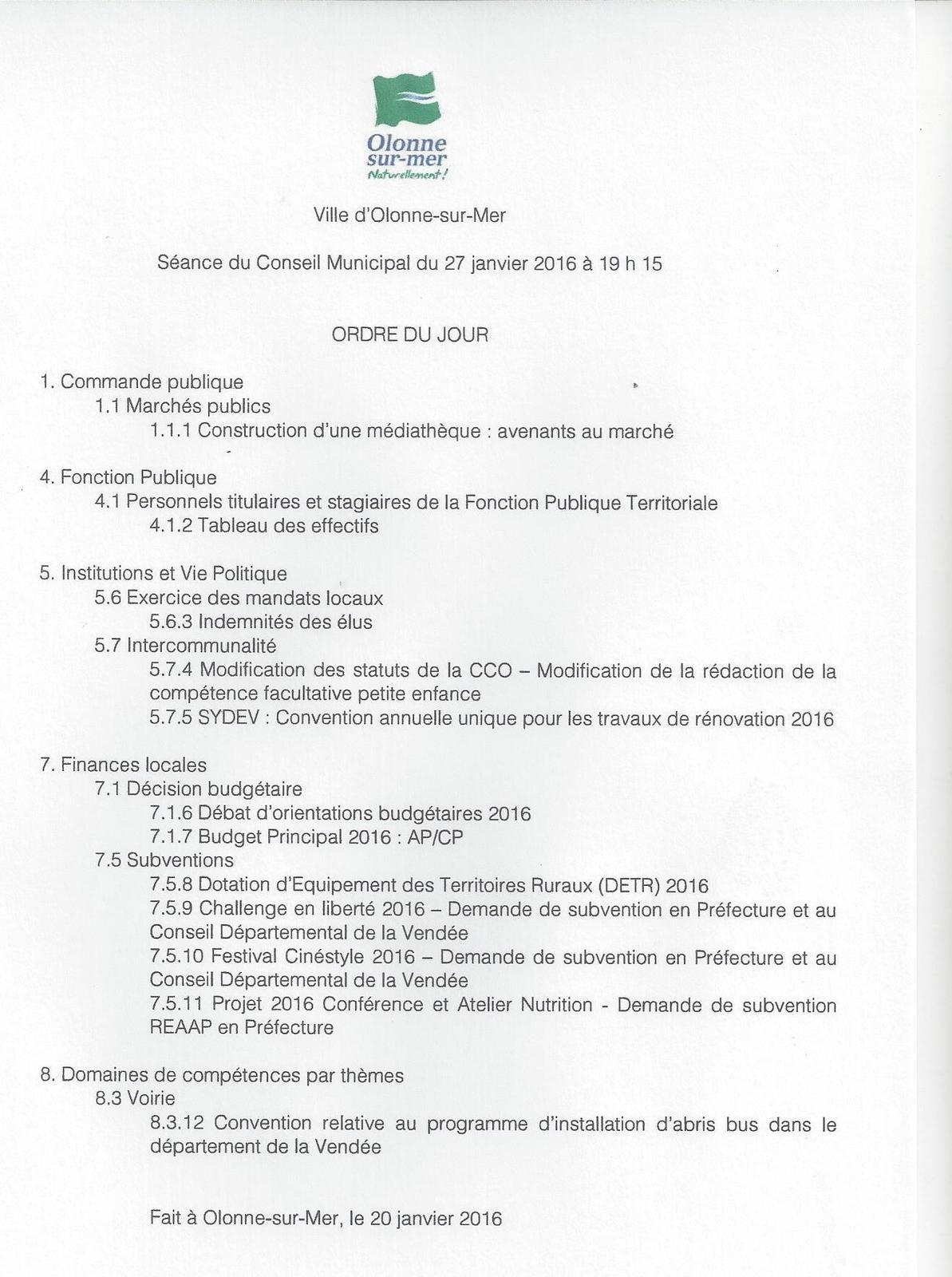 OLONNE-SUR-MER : conseil municipal du mercredi 27 janvier 2016