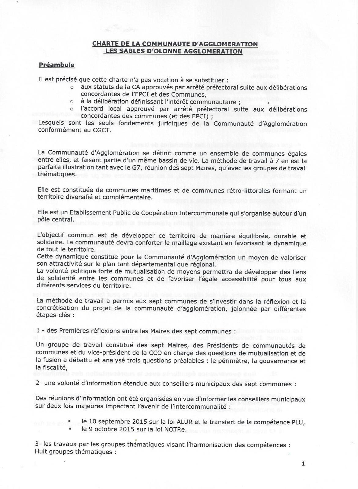 AGGLOMÉRATION LA CHARTE DOCUMENT FONDATEUR DE L' UNION DES 7 COMMUNES