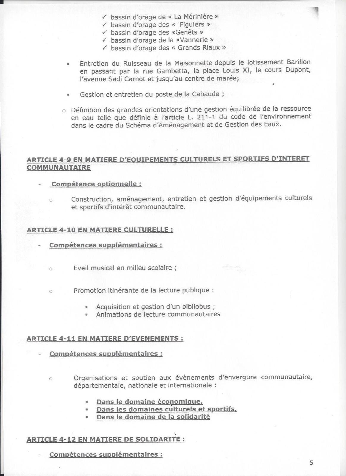 LES SABLES D'OLONNE AGGLOMÉRATION : LES STATUTS