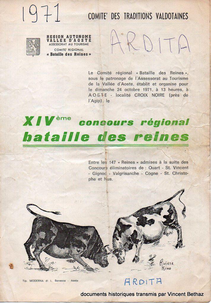 Histoire des Batailles de Reines - carnet de combat du 1971