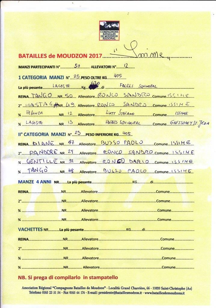 Batailles des moudzons- Issime - 19/04/2017