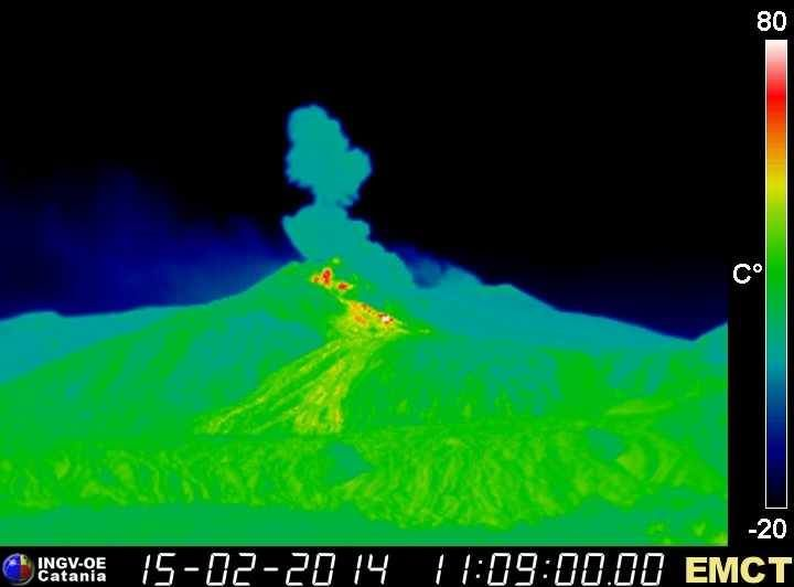 15/02/2014 Etna - explosion septum Bocca Nuova / Voragine 24:09 GMT and outpouring of lava from NSEC - webcam EMCT / INGV