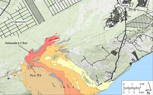 Kahauale'a 2 flow on 20.02.2014 -  HVO / USGS map