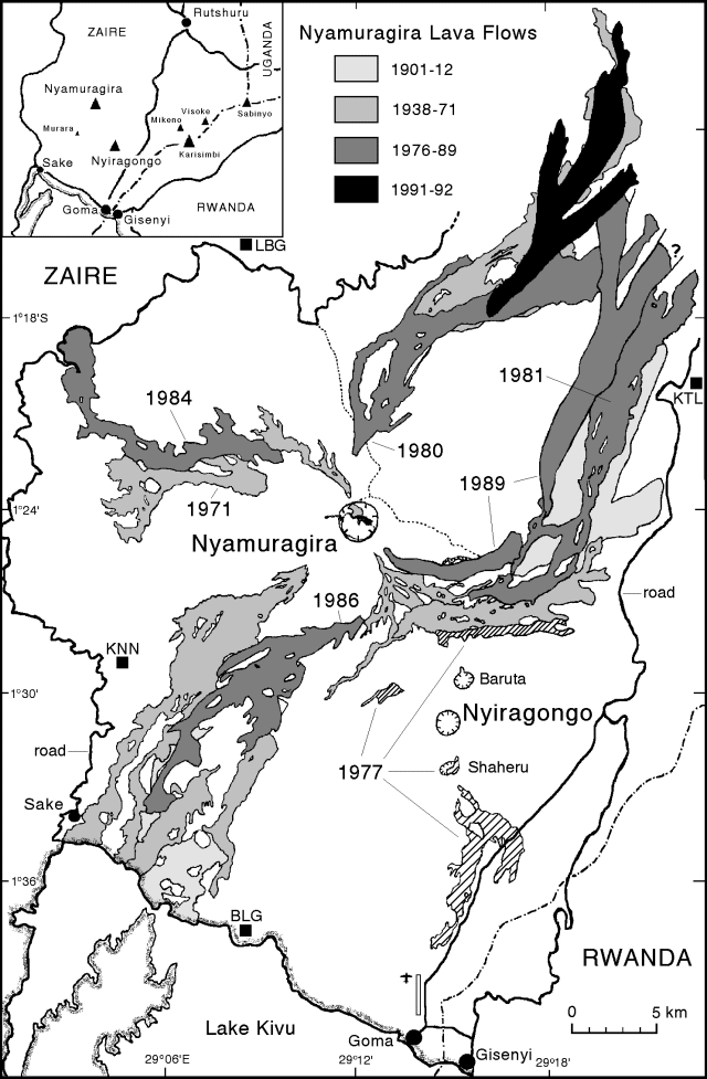 Nyamulagira - trace lava flows in the 20th century - doc . GVP