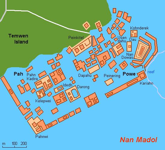 Plan de Nan Madol, proche de l'îlot de Temwen / île de Ponape (Micronésie)
