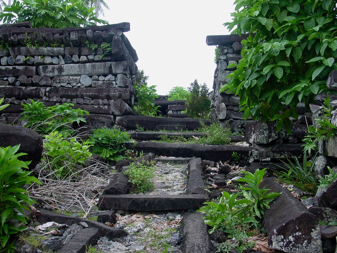 Nan Madol - a pile of basaltic columns - photo Globetravelblog