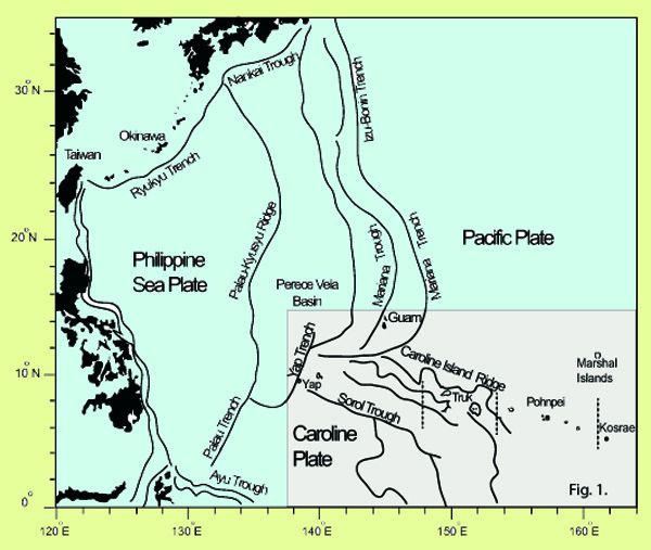 Tectonic Micronesia and around - with different trenches and ridges - doc . Geological Origin of the Volcanic Islands of the Caroline