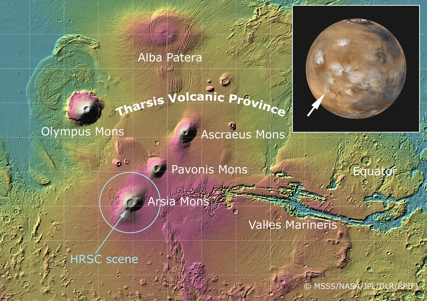 La Province volcanique Tharsis / MARS  - doc. ESA / DLR / FU Berlin (G. Neukum) - Original image data by NASA