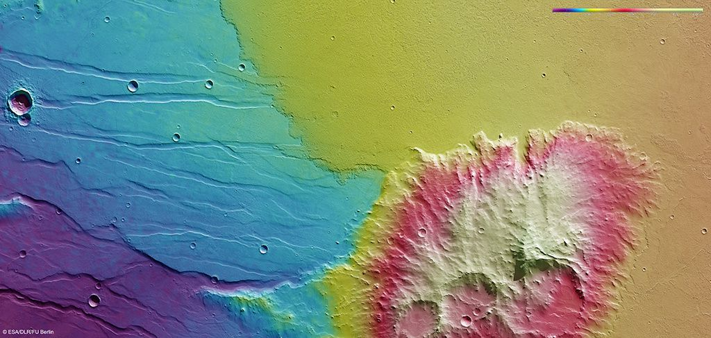 Topographie des coulées dans Daedalia Planum - Doc ESA - http://www.esa.int/Our_Activities/Space_Science/Mars_Express/Lava_flows_in_Daedalia_Planum