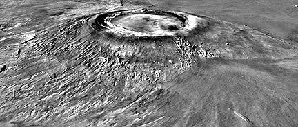 Perspective view of Arsia Mons - doc . reconstituted by combining images from the Viking probe and elevation data / Planetary remote sensing, Martian landscapes .