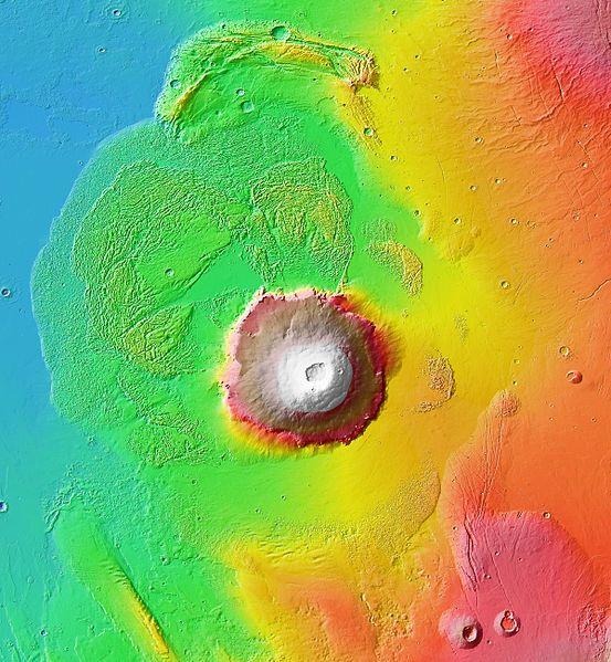 Carte topographique en couleur d'Olympus Mons, de la dépression annulaire et des terrains environnants - doc. NASA / JPL-Caltech / Arizona State University