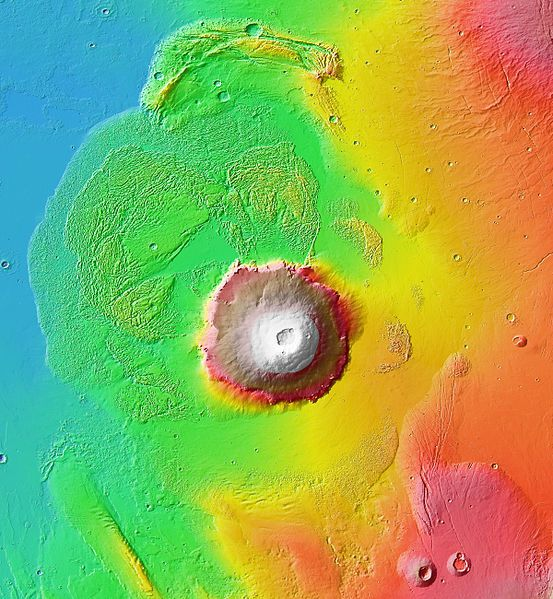 Topographic map in color of Olympus Mons, the annular depression and surrounding land - doc . NASA / JPL -Caltech / Arizona State University