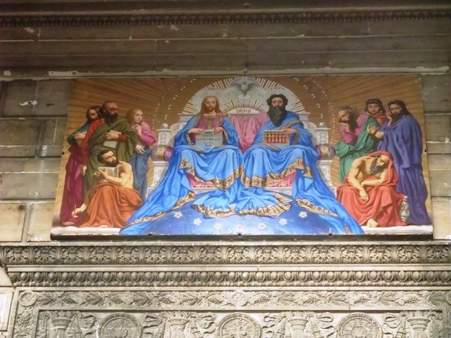 "Jules Jolivet (1794-1871) Decorative panel ""The Trinity "" - Painting enamelled lava - 110 x 240 cm Paris , Saint- Vincent -de- Paul - Photo: Didier Rykner"