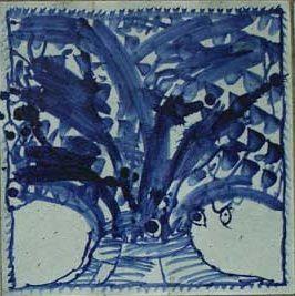 """""""Album et Bleu"""" de Pierre Alechinsky : détail d'un panneau de lave émaillée à thème tellurique. - photo  Musée en Plein Air du Sart-Tilman ."""