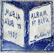 """Album and Blue "" Alechinsky - panel of enamelled lava, signing and dating the work - photo Open Air Museum of Sart- Tilman"