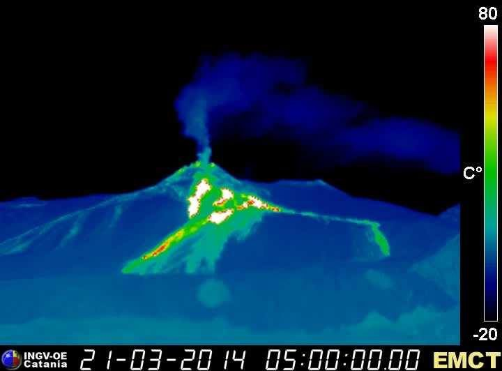 Etna -  webcam thermal Monte Cagliaro - strombolian activity at the summit of NSEC - the center of the image, lava flow active since March 17 - on the right , flow fed between 24.02 and 16.03 - INGV Catania