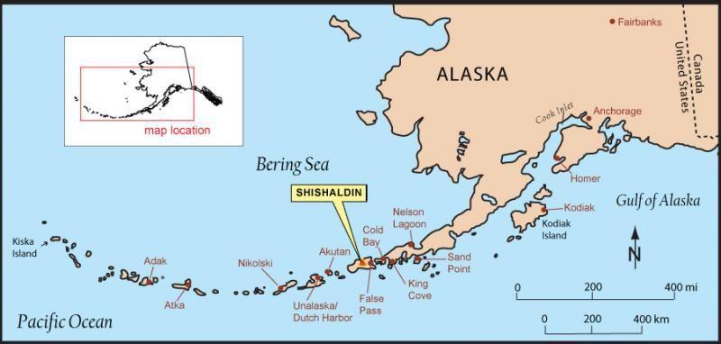 Localisation du Shishaldin dans l'arc des Aléoutiennes - doc. AVO / USGS
