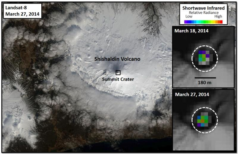 Shishaldin - Landsat 8 showing the emission of heat from the lava in the summit crater , the 18.03 and the 27.03.2014 - doc . AVO / USGS / Schneider D