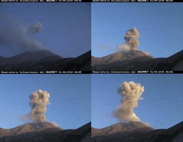 Ubinas explosions du 01.04.2014 entre 5h36 et 6h06 LT - photo webcam / Ingemmet