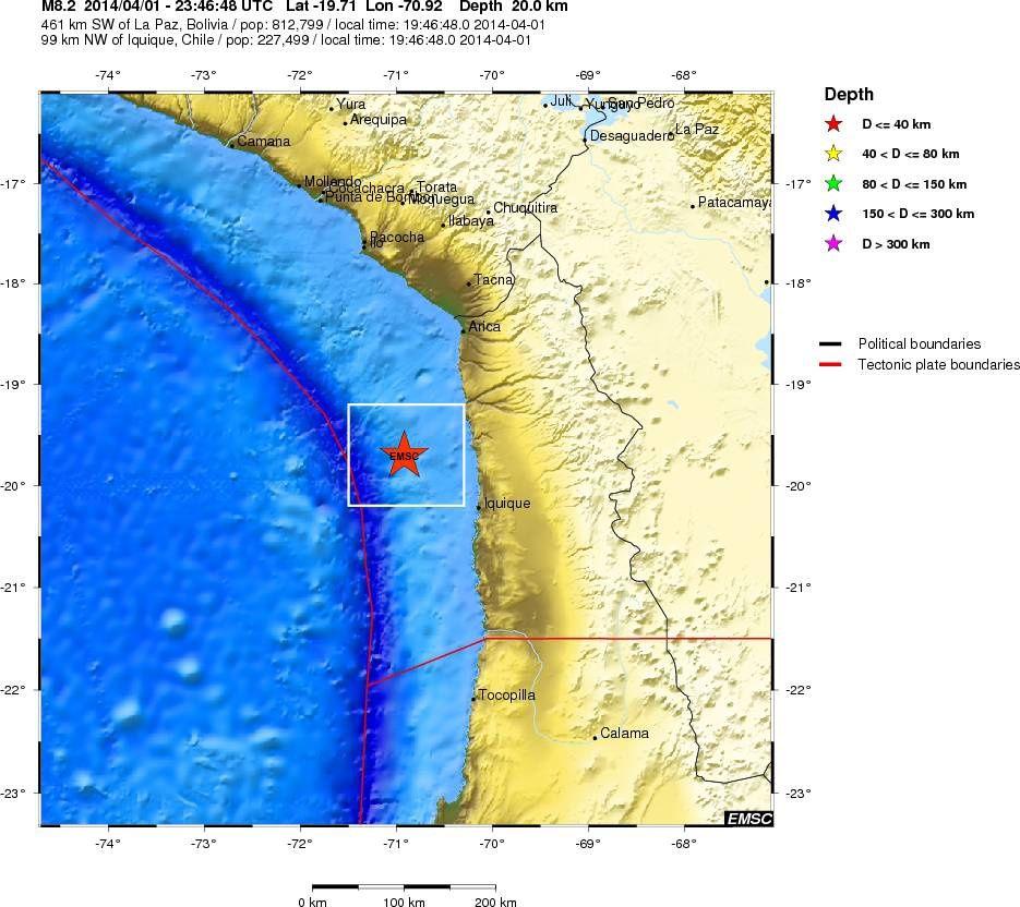 Localisation de l'épicentre du séisme de M 8,2 au Chili - carte CSEM