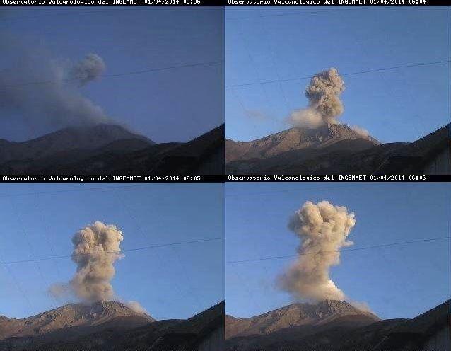 Ubinas explosions 01.04.2014 between 5:36 ET 6:06 LT - photos webcam / INGEMMET