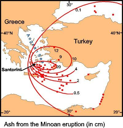 Isopach of ash distribution of  the eruption of Thera in the direction of the eastern Mediterranean - doc . Decades volcanoes .