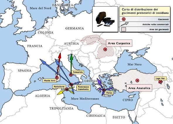 Carte de distribution des gisements d'obsidienne à la préhistoire - zones d'influence et routes commerciales à la préhistoire - doc. glassway.
