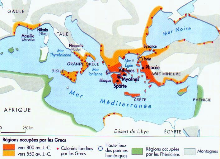 Settlements around the Mediterranean by the Greeks and the Phoenicians - . Docs en plus map.