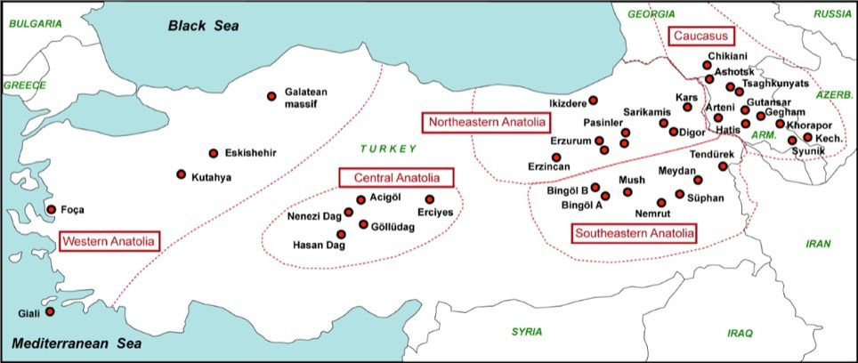 Position of the deposits of Anatolia and the Caucasus - obsidatabase map.