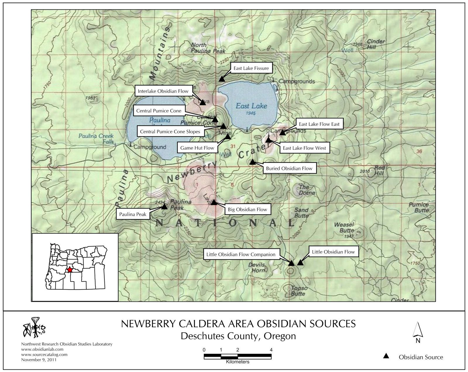 The different flows of obsidian in the Newberry Caldera - doc.IAOS