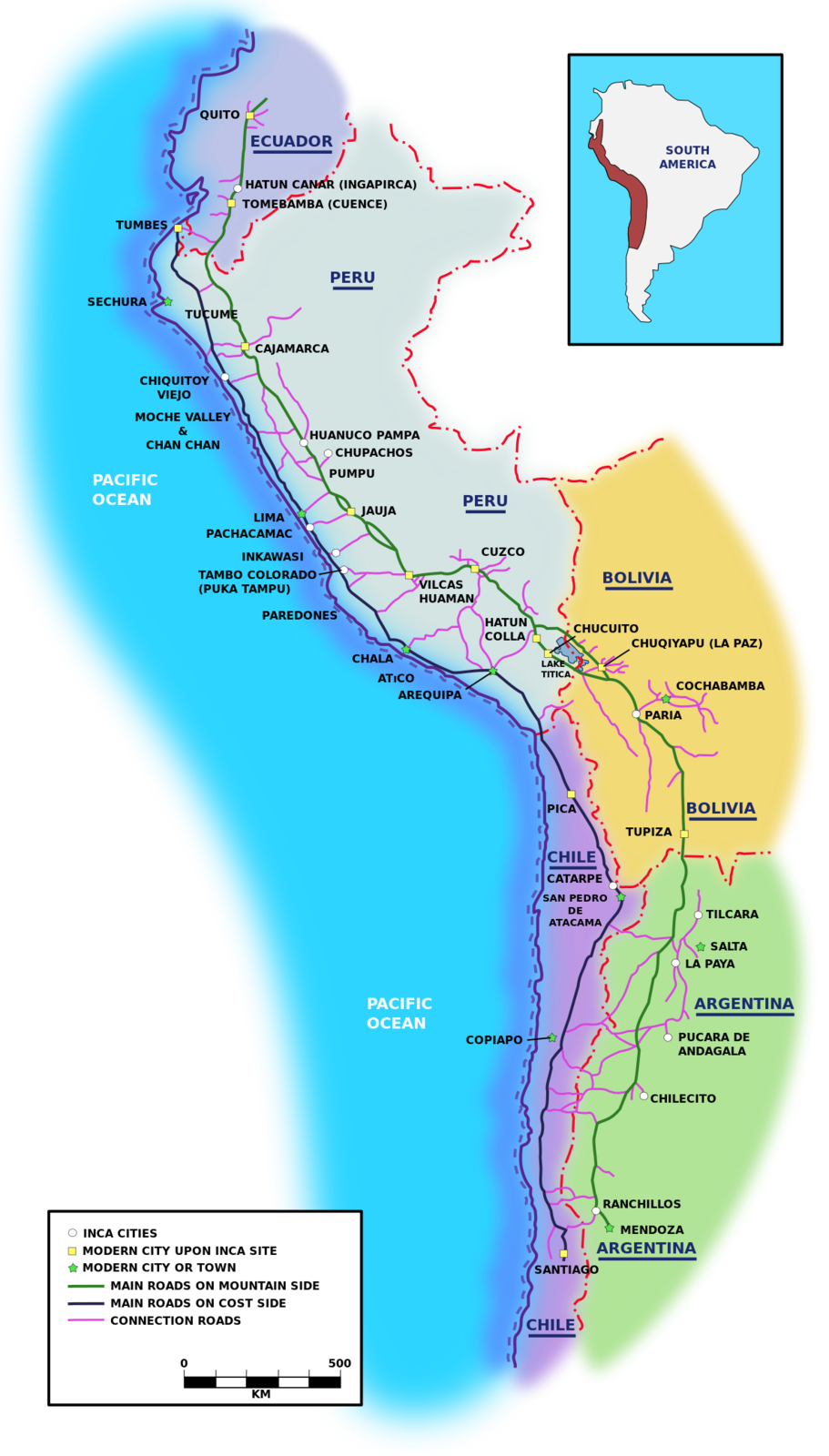 Trade routes at the time of the Inca Empire - in green , roads in alitude - inblue, the coastal road - in purple, the tranversales - doc . Manco Capac