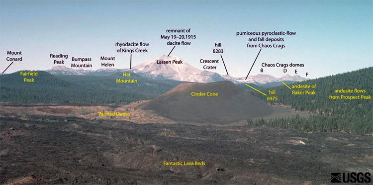 Panorama from Sunrise Peak towards the Lassen Peak - photo Patrick Muffler / USGS