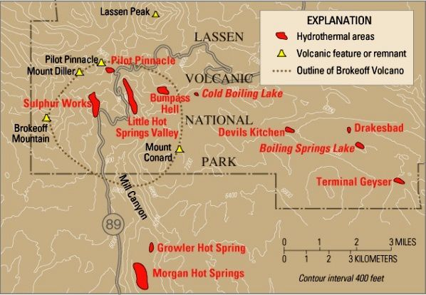 Lassen Volcanic National Park - the different structures or volcanic remnants - dotted : contours of Brokeoff volcano / Tehama volc . - Red , hydrothermal areas . - USGS Map