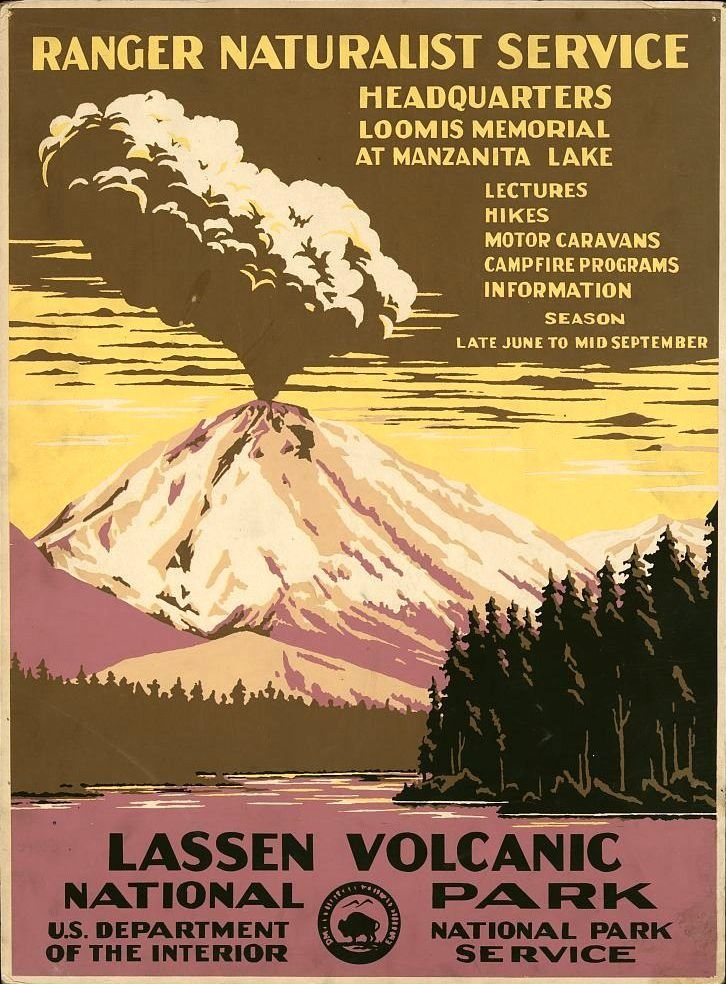 Lassen Volcanic National Park poster, illustrated by a drawing of the eruption of 1914-1917 - Original 1938 / Library of Congress .