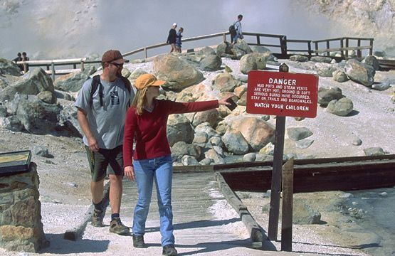 The danger in these hydrothermal areas is not to be overlooked ... stay on the trails and boardwalks - photo John Poimiroo - Lassen Park Foundation