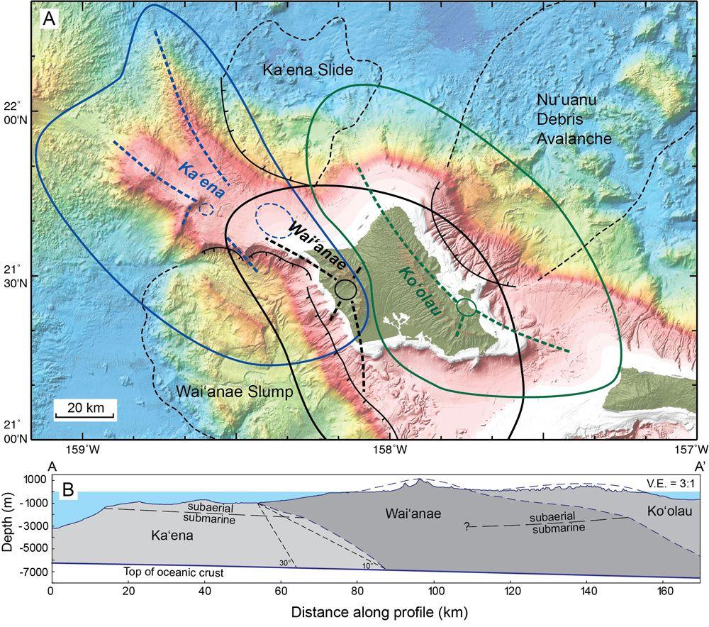 Carte des trois volcans formant Oahu : du plus vieux au plus jeune, le Ka'ena, le Wai'anae et le Ko'olau. Les lignes pointillées en gras délimitent les zones de rift possibles des volcans &#x3B; en pointillés fins, les dépôts de glissements de terrain majeurs. L'encart du dessous montre comment les volcans se recouvrent. - Doc.University of Hawaii at Manoa./ via Live Science