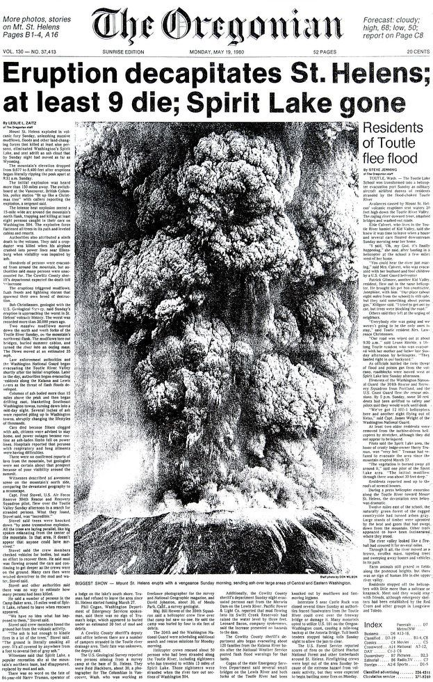 """ The One "" from The Oregonian newspaper of 19.05.1980 , the day after the eruption - doc. The Oregonian archives"