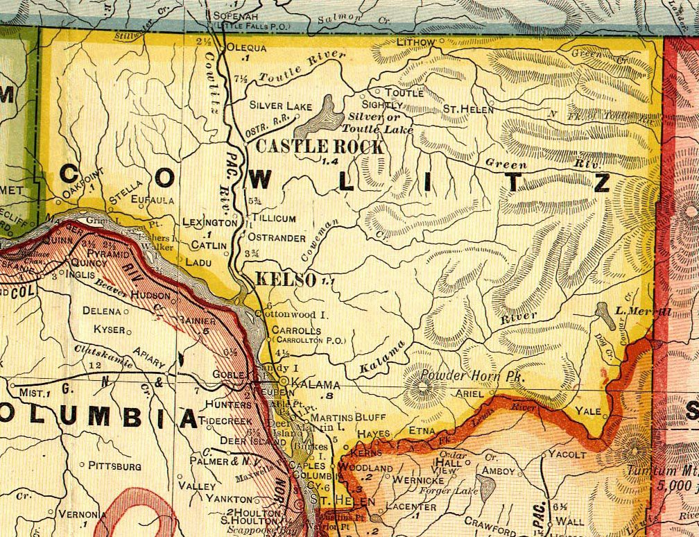 Map of the ancestral area of ​​the Cowlitz tribe