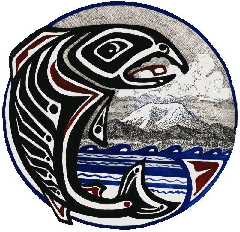 Emblem of the Cowlitz tribe, with St. Helens - doc. Cowlitz tribe