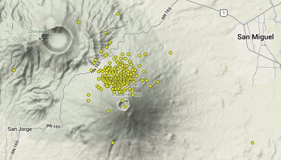 Microseismic epicenters between 27.01 and 05.19.2014 : 279 earthquakes not felt , M 0,4 -1.9 were recorded during this period on the northern flank of the volcano - Doc. SNET / MARN