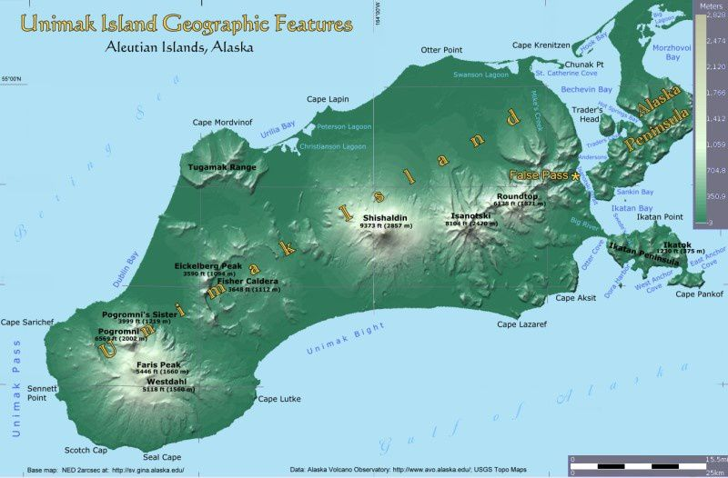Map AVO / USGS / Unimak.us - Volcanoes of Unimak Island